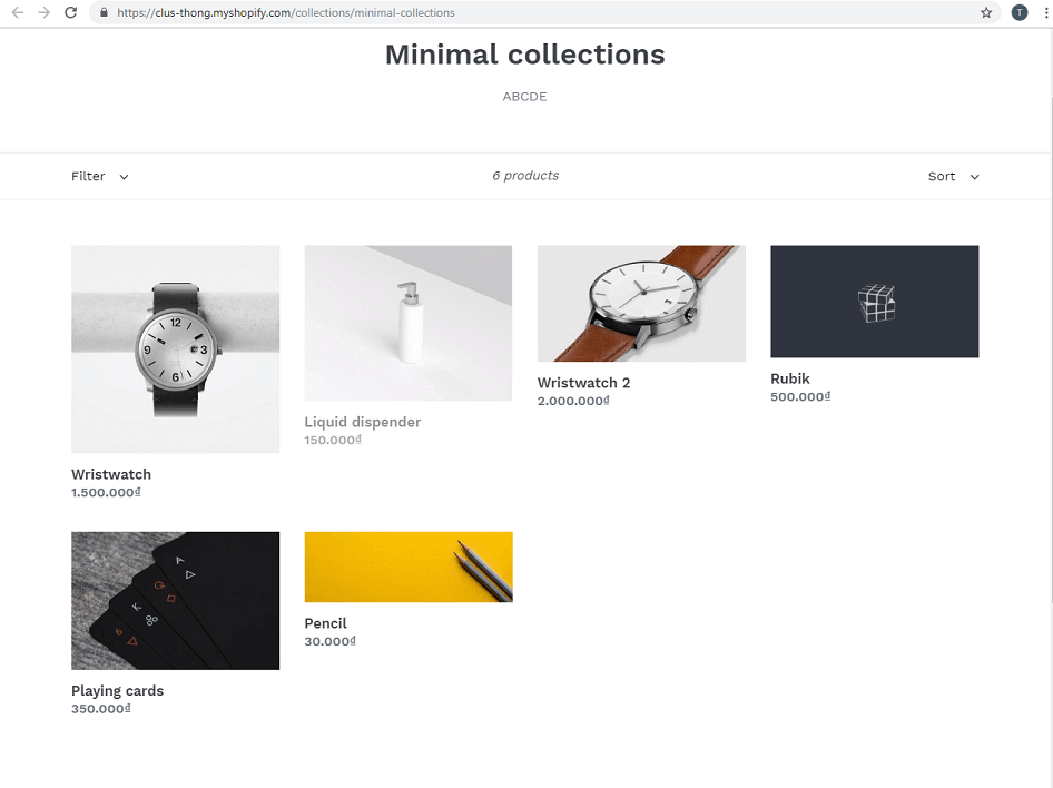 Default Shopify collection page