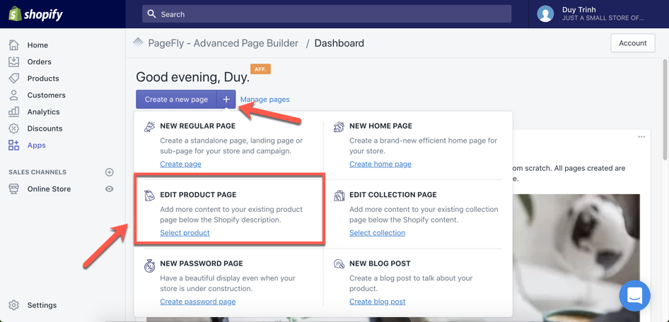 Start enriching Shopify product page in PageFly