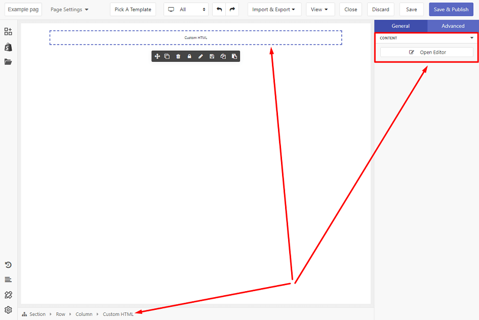 General tab configuration of Custom HTML