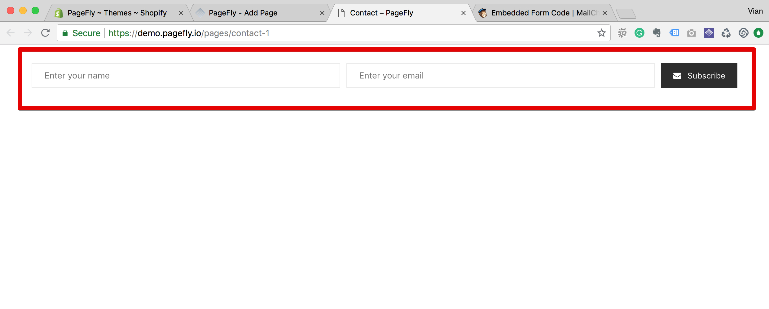 MailChimp form element in live page