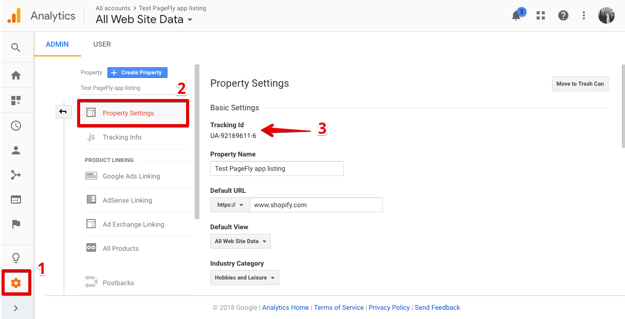 Property Settings in GA admin