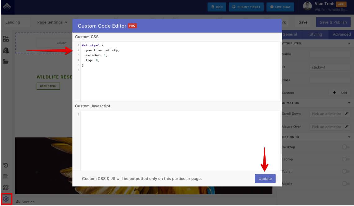 Insert code into Custom code editor
