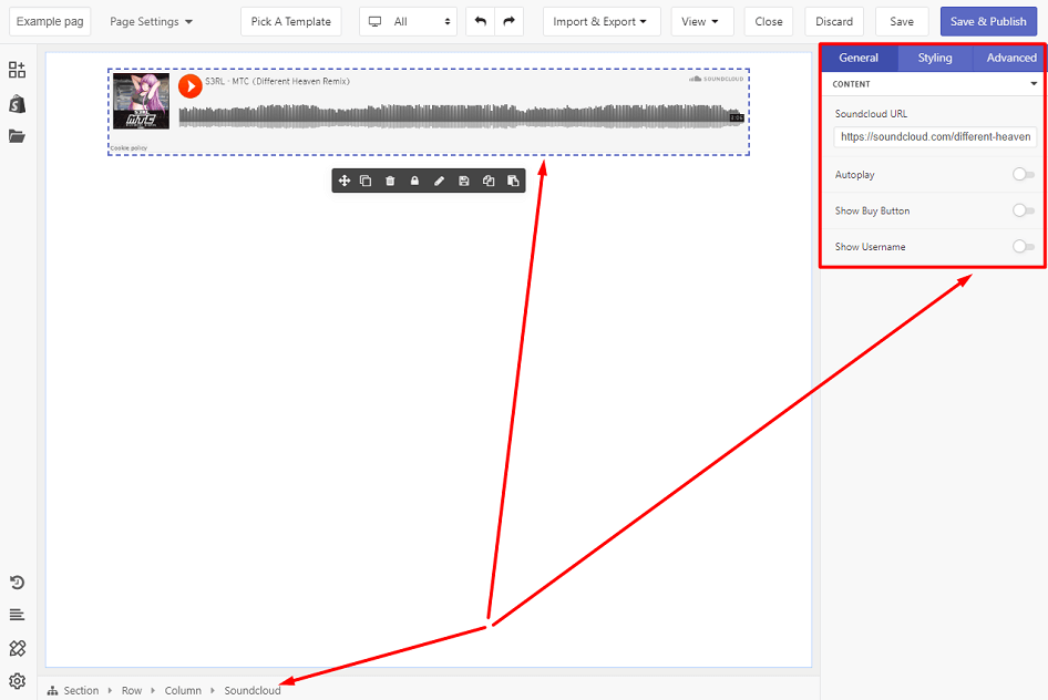 General tab configuration of SoundCloud
