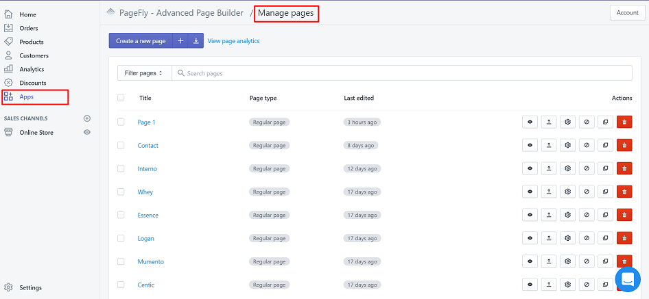PageFly Manage pages dashboard