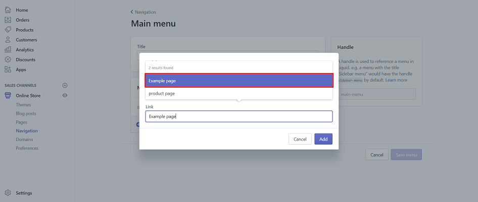 Pick a page to be used as menu item