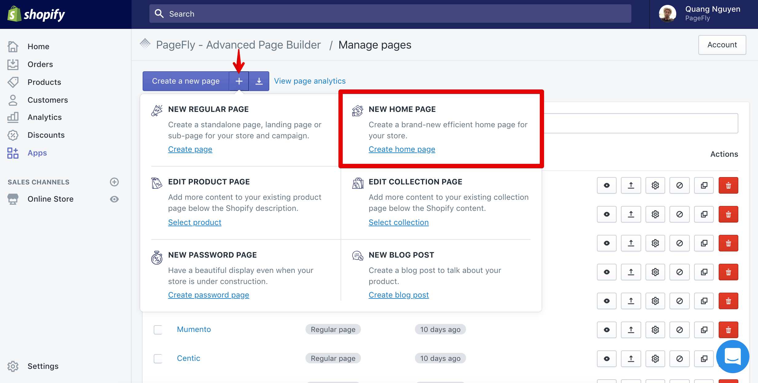 Create a new home page for your store in PageFly