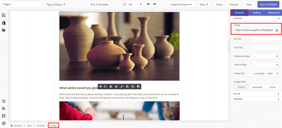 Use the hosted file as content for Image element