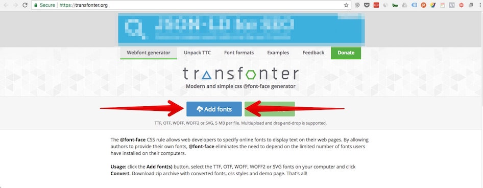 Add fonts to be converted on transfonter.org