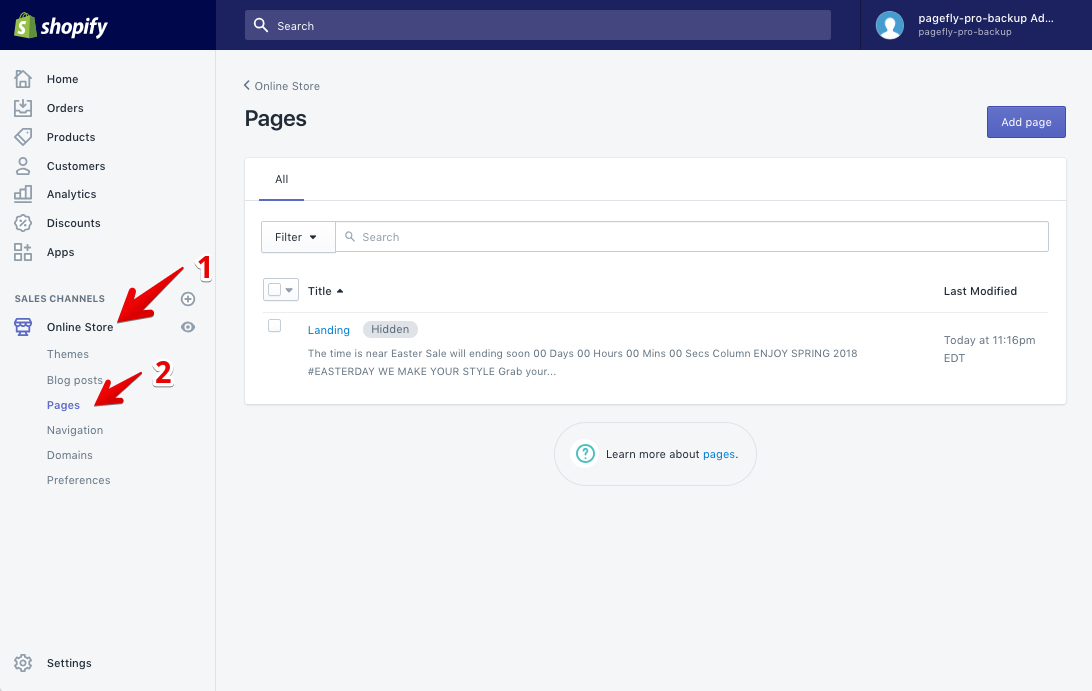 Your PageFly pages are listed in Shopify Pages