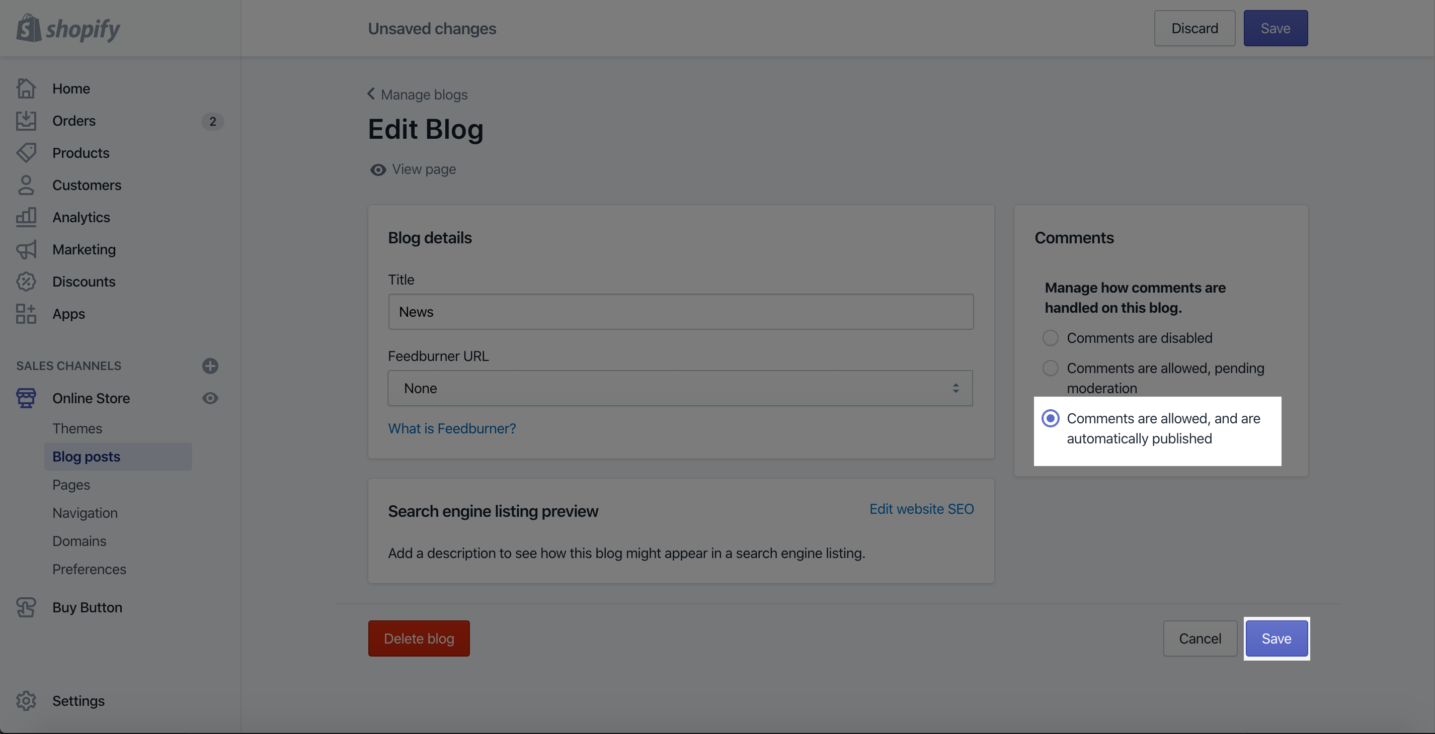 comments blog posts shopify