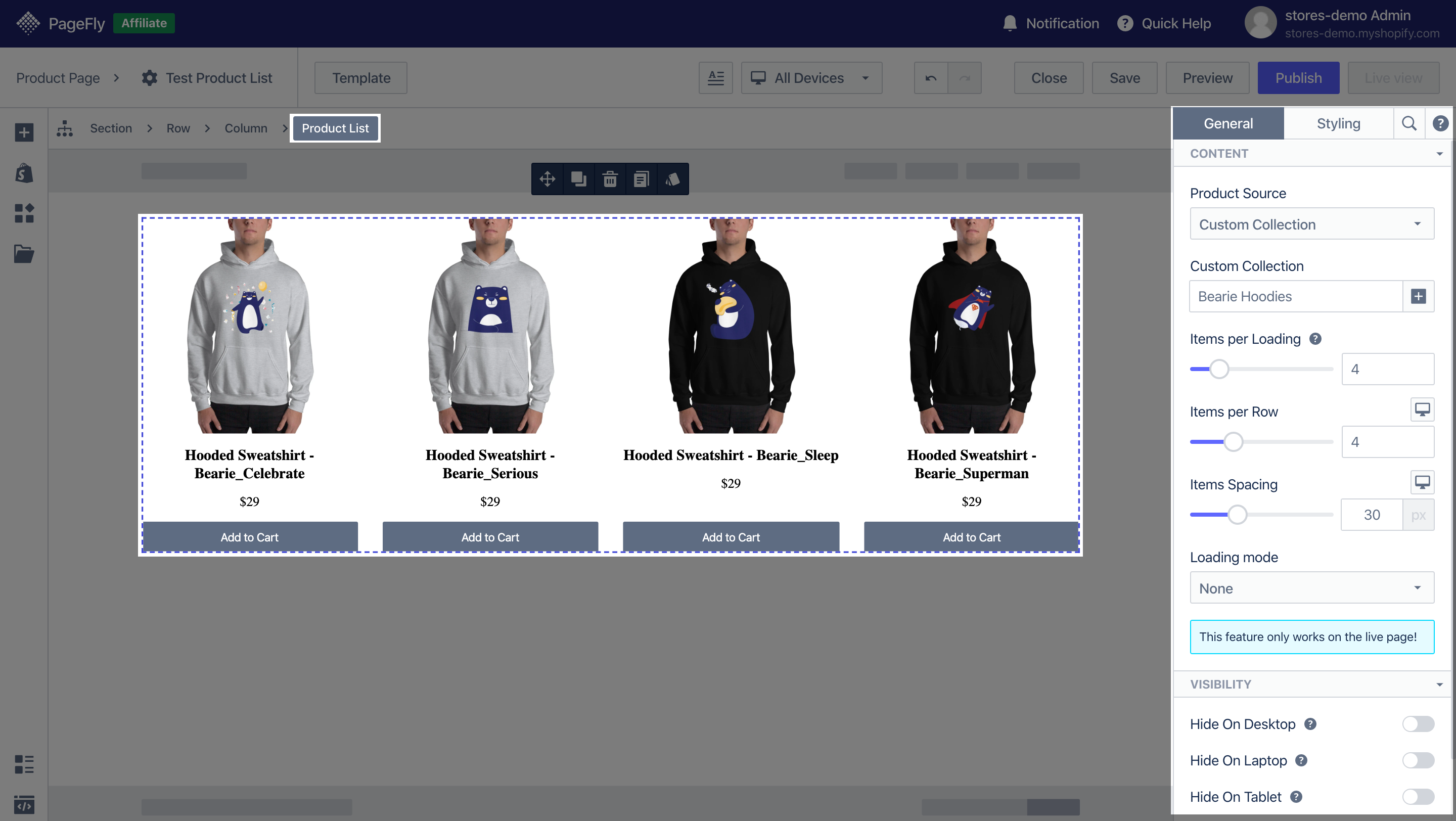 shopify elements product list