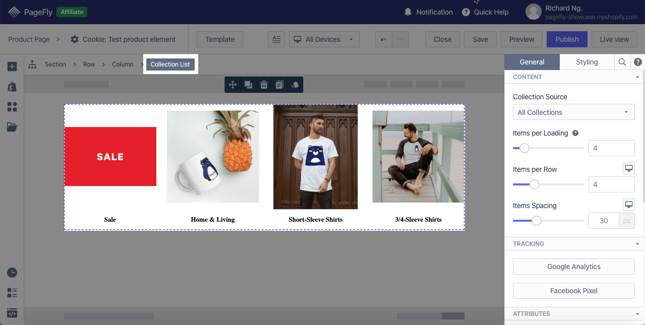 shopify elements collection list