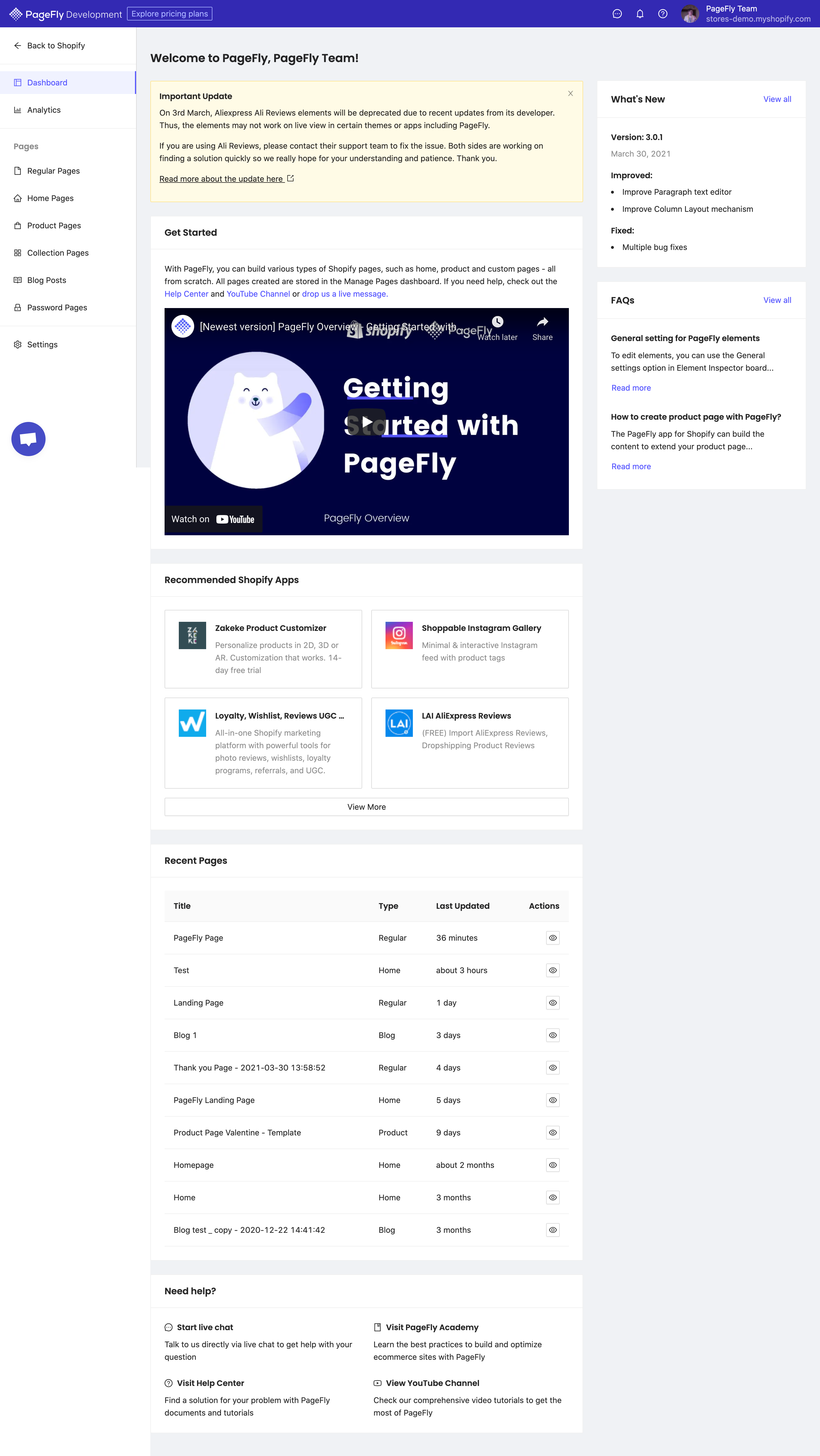 PageFly Dashboard
