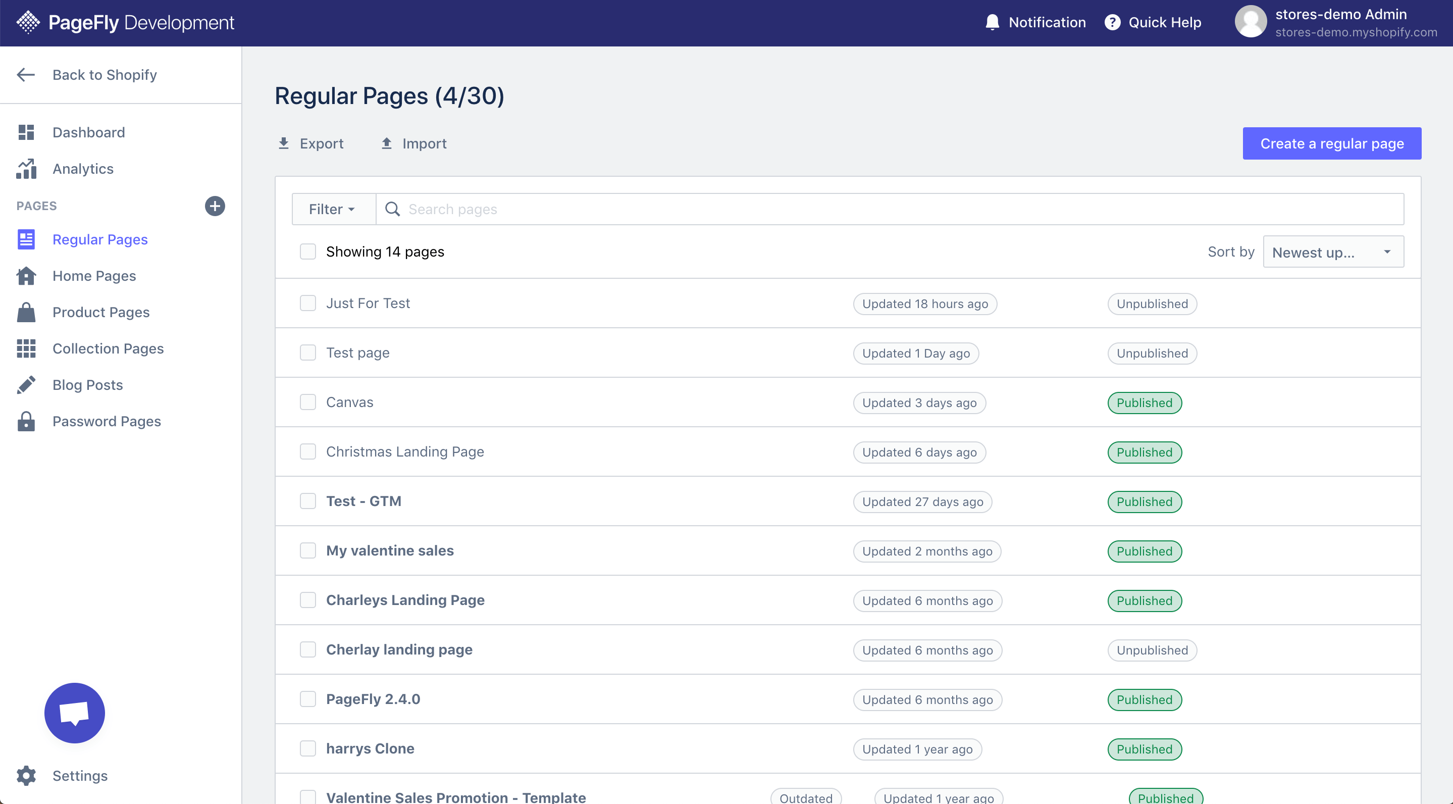 PAGEFLY page list