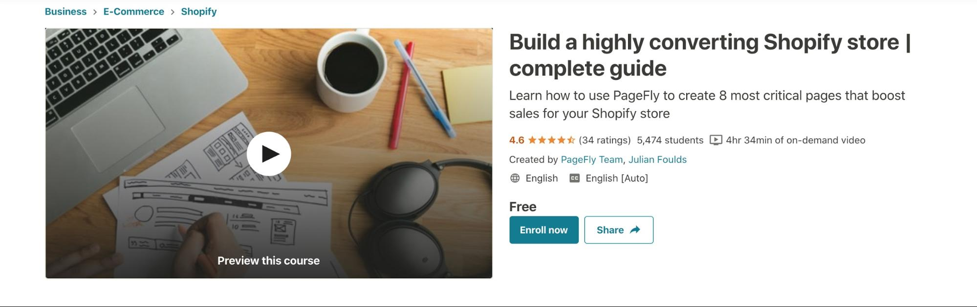 PageFly Udemy course