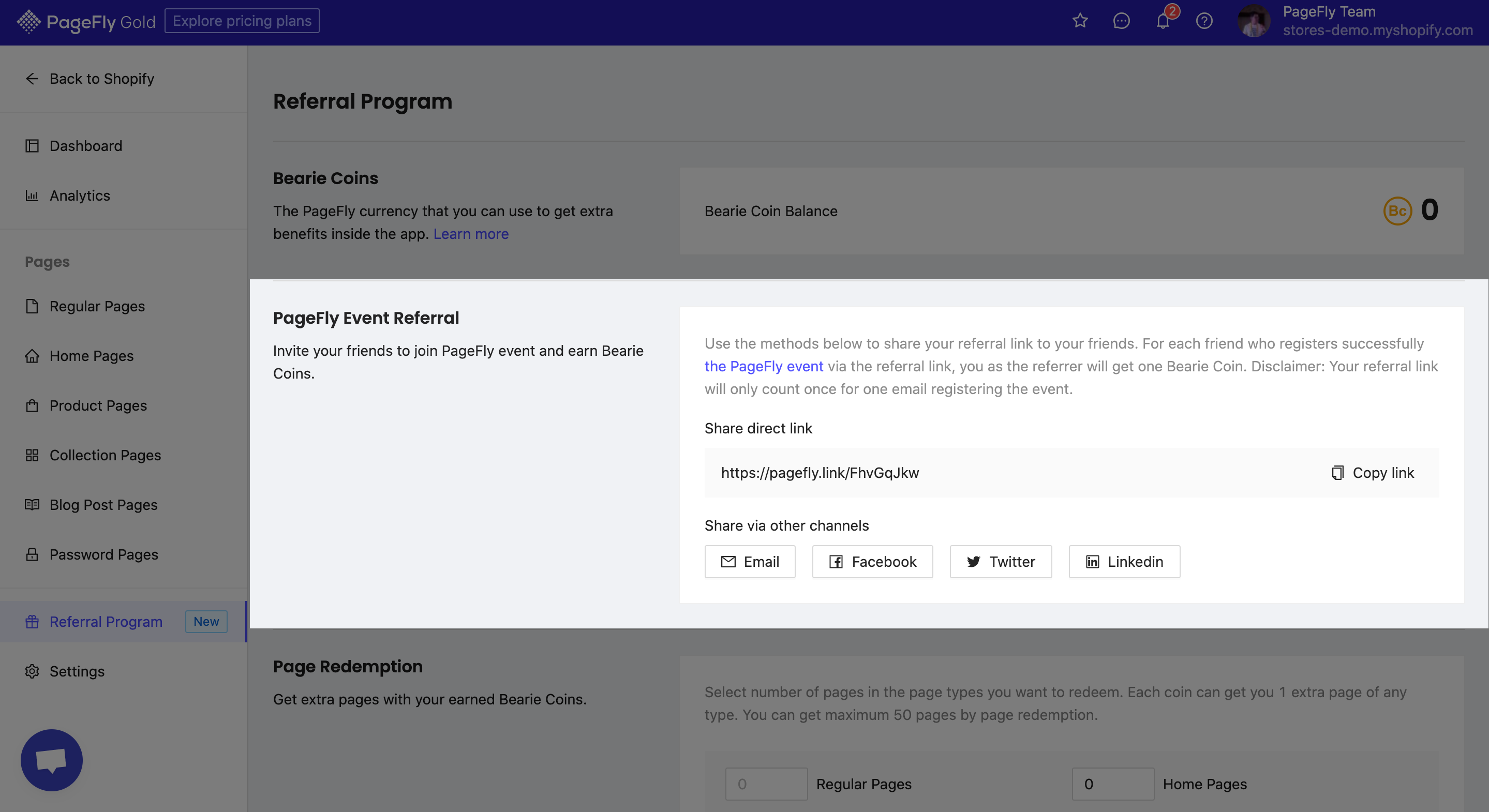 PageFly Event Referral_Referral Program