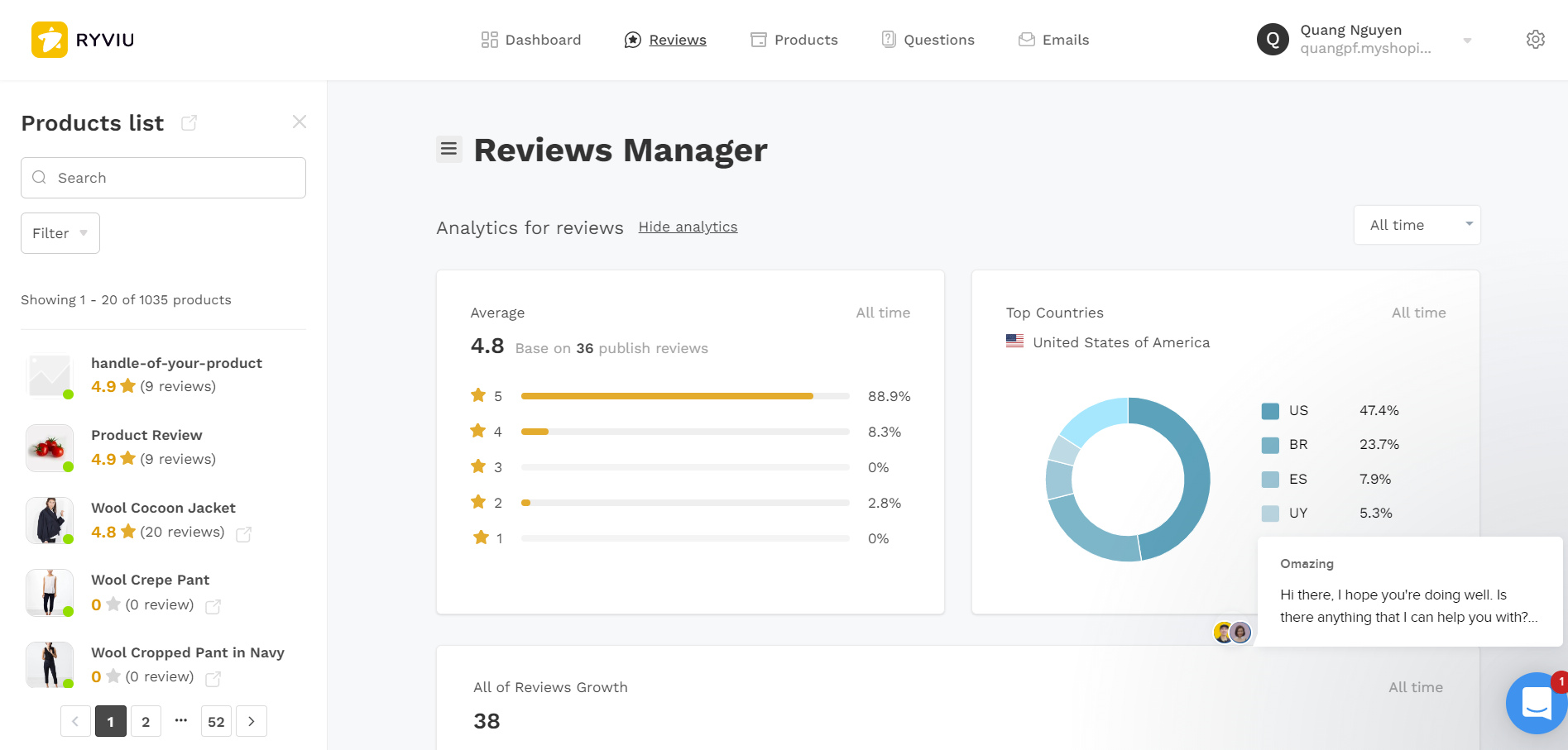 Ryviu Product Reviews App & QA element configuration