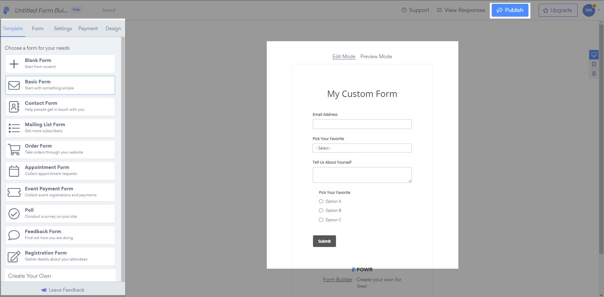 Configurate POWR Form Builder app