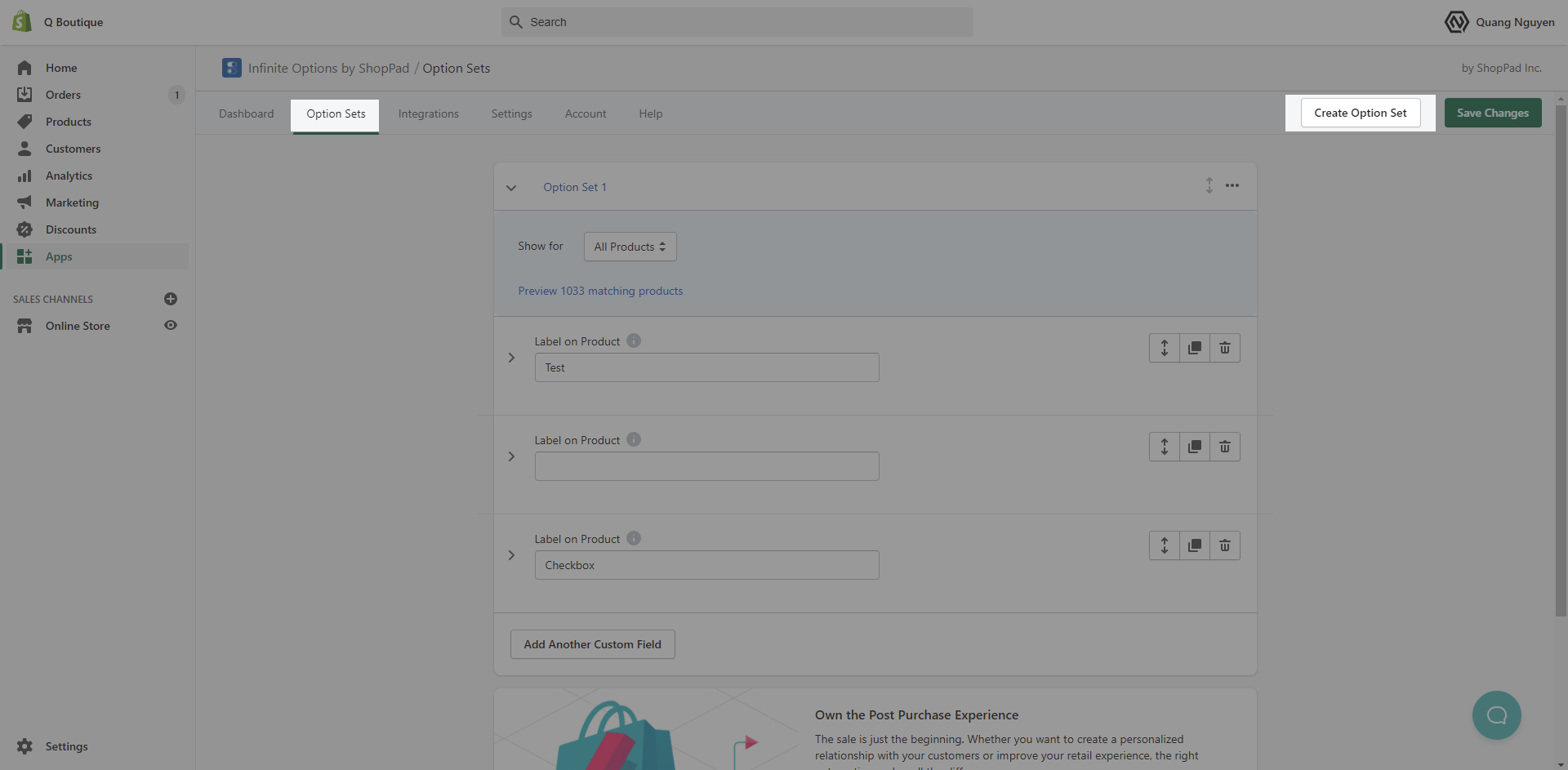 Configure Infinite Options by ShopPad